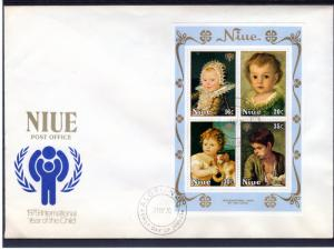 Niue 1979 International Year of The Child (ICY) Paintings S/S FDC