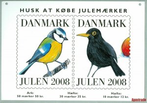Denmark. Christmas Seal. 2008. 1 Post Office,Display,Advertising Sign. Birds