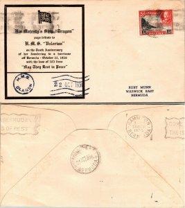 1936 BERMUDA CACHET FOR SHIP DRAGON, 1936