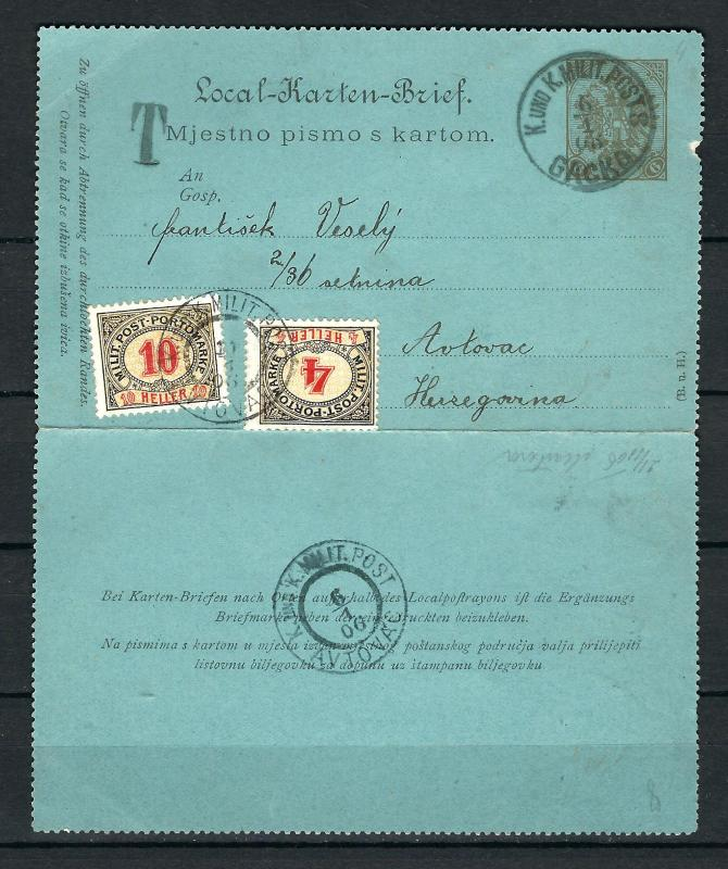 AUSTRIA BOSNIA PORTO 1904. PORTO  10 + 4 on local card-letter from Gacko