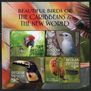 BEQUIA  2016 BEAUTIFUL BIRDS OF THE CARIBBEAN & THE NEW WORLD SHEET(4)  MINT NH
