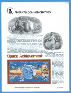 USPS COMMEMORATIVE PANEL #143 SPACE ACHIEVEMENTS #1912-19