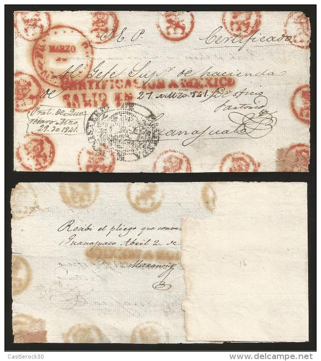 J) 1841 MEXICO, RED CIRCULAR MEXICO CANCELLATION, MATCHING CERT., MANUSCRIPT DAT
