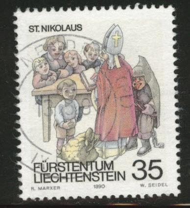 LIECHTENSTEIN Scott 952 used CTO Christmas 1990 St. Nicholas