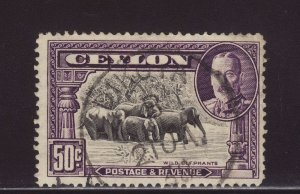1936 Ceylon 50c Dikota CDS Used SG377