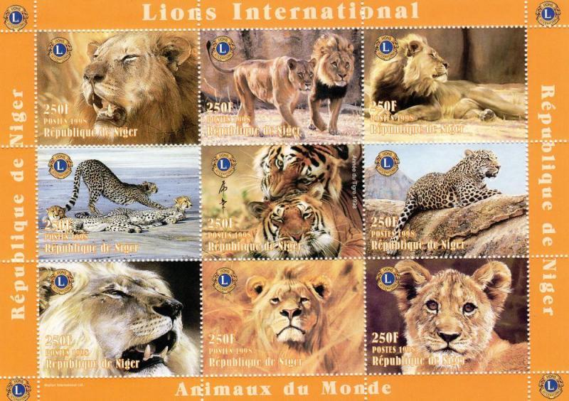 Niger MNH S/S 1003 Lions ROAR!!!!! 1998