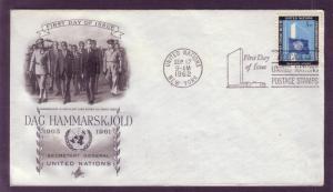 United Nations FDC Sc. #  108 Dag Hammarskjold    L4