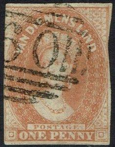 TASMANIA 1856 QV CHALON 1D NO WMK IMPERF USED