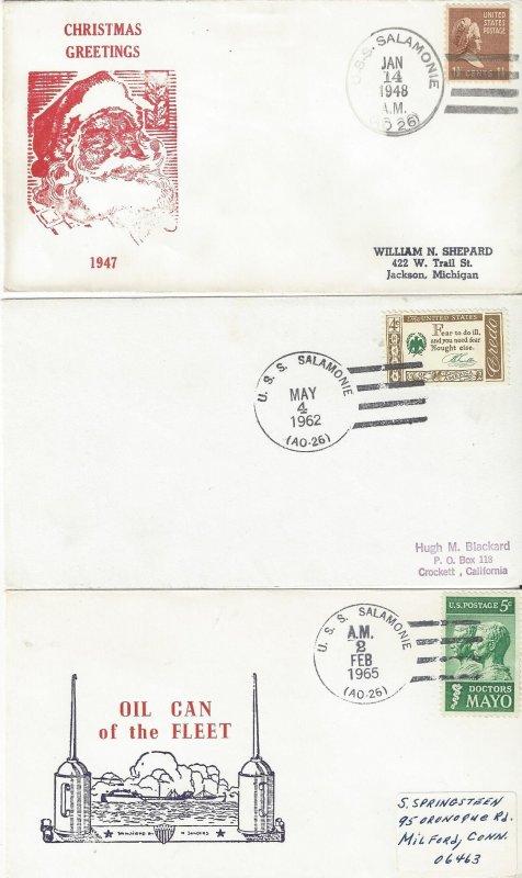 US Naval Cover USS Salamonie AO 26 1948 Christmas, 1962, 1965