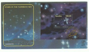 1996 NAMIBIA - STARS IN SKY  MINI SHEET  ON FIRST DAY COVER