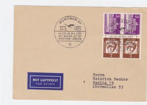 Germany 1965 Boeing Munich to London special cancel stamps card  R21058