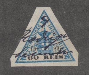 Portugal, Industrial Tax, Barata 143, used. 1899 60r blue & brown triangular