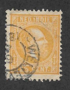 NETHERLANDS INDIES Scott #7 Used 2 1/2c King William IIl stamp 2015 CV $20.00