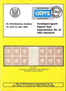 Gotz: Sale # 22  -  22. Briefmarken-Auktion, Jurgen Gotz ...