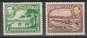 BRITISH GUIANA 1938 KGVI PICTORIAL 1C AND 60C PERF 12.5