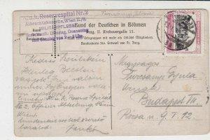 Bohmen 1915 Field Post Horse & Warrier Illust. Stamp Card to Budapest Ref 35137