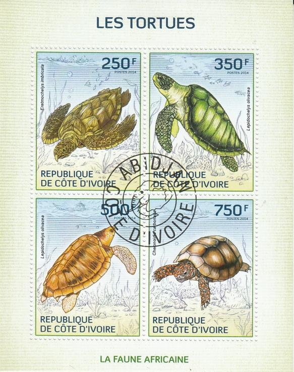 Ivory Coast  Turtles / Tortoise  Marine Life  4v  CTO Used Sheetlet   75315