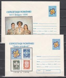 Romania, 1996 issue. 2 Scouting Postal Envelopes.