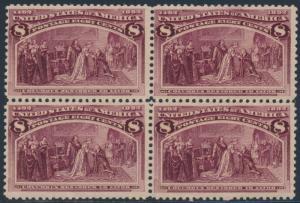 #236 8¢ COLUMBIAN F-VF OG NH BLOCK OF 4 CV $640 BS1996