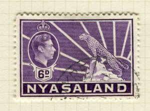 NYASALAND; 1938 early GVI issue fine used 6d. value