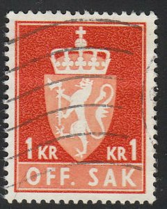 Stamp Norway Official Sc O092 1962 Dienst Coat Arms Used
