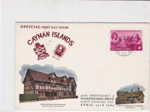 Cayman Islands 1964 400th anni. of shakespeares birth fdc stamps cover ref 21464