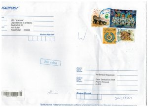 Kazakhstan 2020 Registered Cover to Poland Stamps Space Astronauts Animals Snail