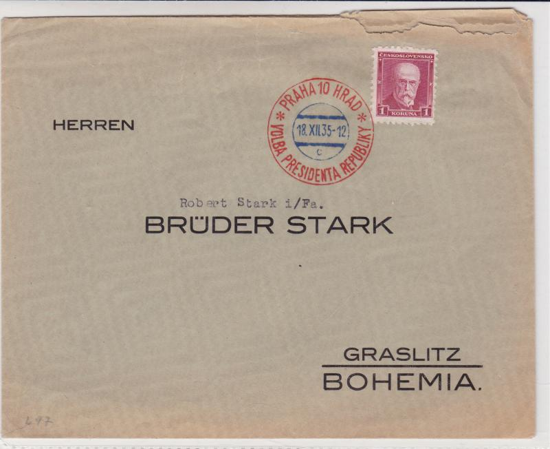 czechoslovakia 1935 special cancel  stamps cover ref r15868