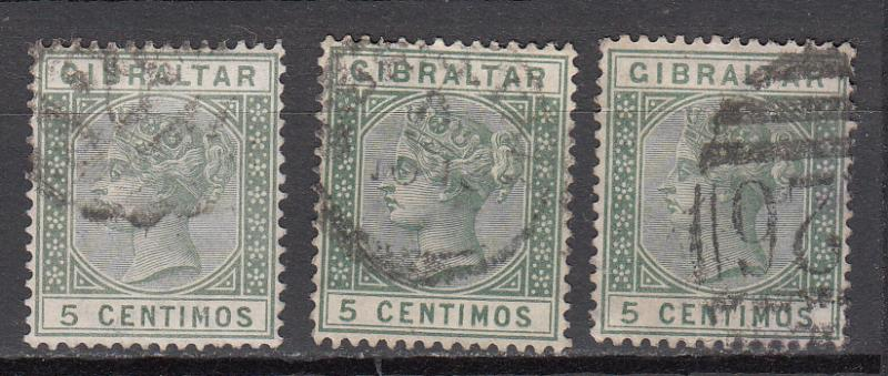 Gibraltar - 1889 QV 5c stamp lot  (8004)