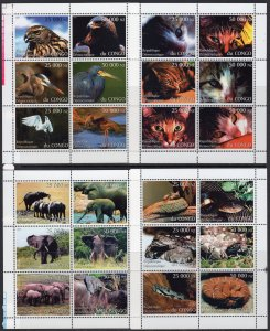 Zaire (Congo) 1997  FAUNA  12 Sheetlets of 6 values each (72) Perforated MNH