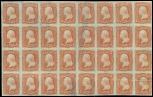 65-E, 1860's 3¢ ROSE FRANCIS PATENT PAPER BLOCK OF 24