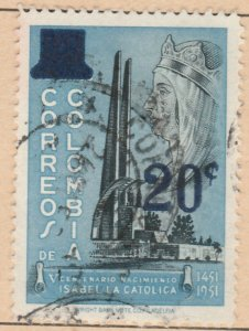 Colombia 1959 20c on 23c Fine Used A8P52F53