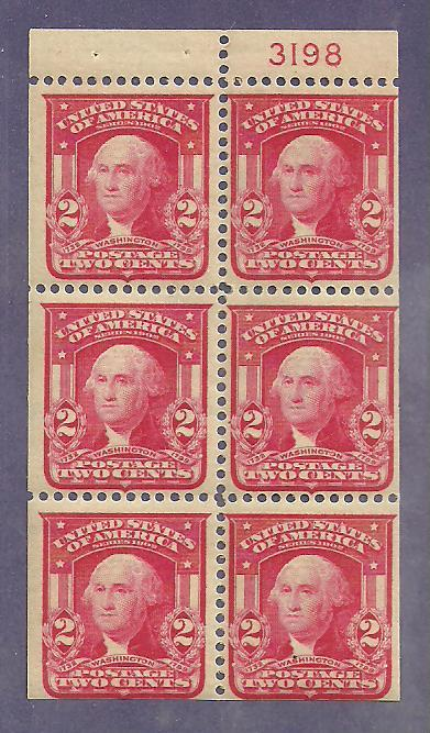 #319g Washington booklet pane mint hinged #3198
