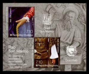 Croatia Sc# 851 MNH Relations with San Marino (S/S)