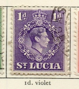St Lucia 1938-48 GVI Early Issue Fine Used 1d. NW-154971