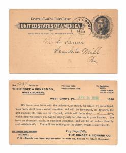 UX14 Postal card 1898 West Grove PA Advert Rose Growers Dingee Conard Co