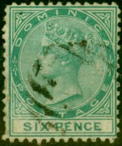 Dominica 1874 6d Green SG2 Fine Used