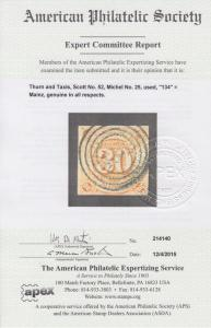 Thurn & Taxis Sc 52 used 1859 30kr orange Numeral, Cert.