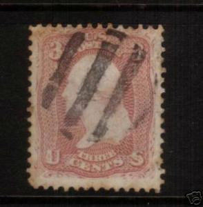 USA 1861 3c WASHINGTON FU SC#65 NO GRILL