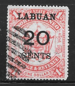 Labuan 60: 20c on $1 Arms of North Borneo, used, F-VF