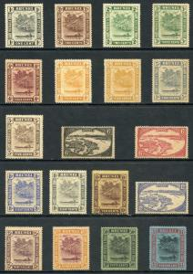 Brunei SG60/78 1924 Set of 19 M/Mint (Brown Gum)