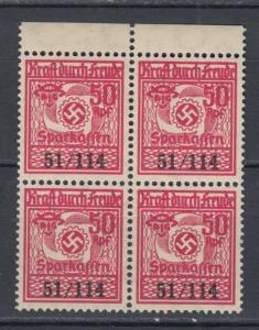 WWII  Third Reich Kraft durch Freude Saving stamp Block MNH Luxe