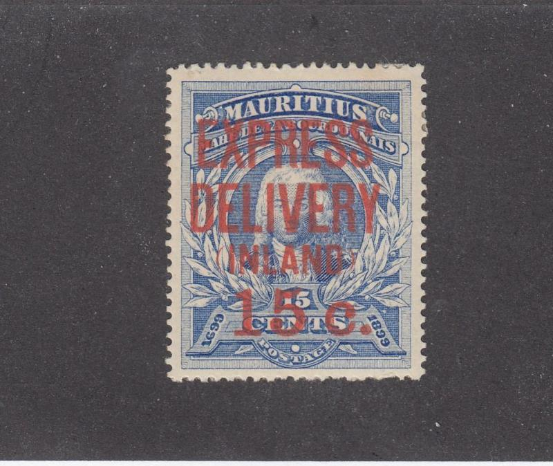 MAURITIUS (MK2651) #E3  FVF-MH 15c on 15c  EXPRESS DELIVERY INLAND RED SURCHARGE