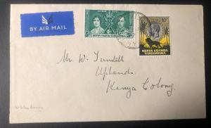 1937 Nyeri Kenya British KUT First Return Flight Airmail Cover To Uplands