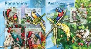 Mozambique 2013 birds parrots animals of africa kbl+s/s MNH