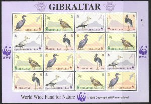 GIBRALTAR SG655/8 1991 BIRDS SHEETLETS MNH