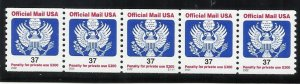 O159  37c Official Coil Pl# Strip of 5 MNH VF Centering