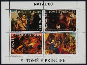 St Thomas & Principe 850-1 MNH Christmas, Art, Paintings, Madonna & Child
