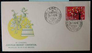 Belgium 1963 FDC europa cept trees brewery convention alcohol brussels pm