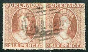 dd75fbf36f12d7 Grenada SG8 1863-71 6d dull rose-red Watermark sideways FINE horizontal pair